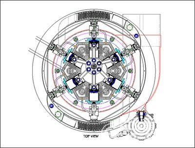 涡轮蒸汽发动机俯视透视图