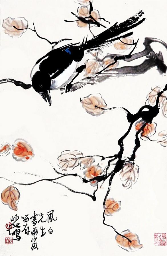 手绘水彩喜鹊