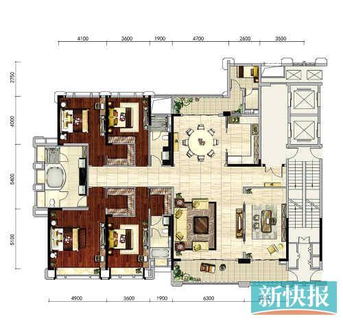 66平方米四房户型图-白云新城首个纯住宅豪宅盘亮相