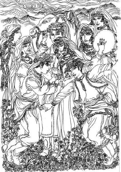 原野人物手绘图